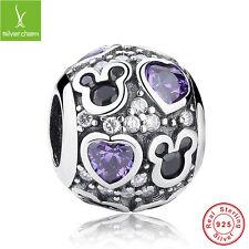 S925 Sterling Silver Mini Mouse Purple Clear Love Heart Charm Fit Women Bracelet