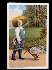 Rare c1917 Wheeling, West Virginia, Child With Wheelbarrow Vintage WB Postcard