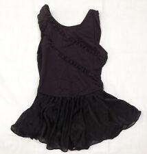 girl child Moret Dance black sleeveless ballet leotard w/ attached skirt M 8 10