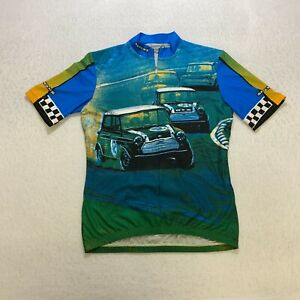 Sugoi Cycling Jersey Size M Blue Cars All Over Print Half Zip Short Sleeve Mens