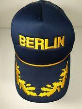 Berlin, Germany Polyester Snapback Cap Nylon Mesh Navy Blue w/Yellow Embroidery
