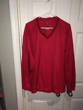 Nike Golf Mens Clima-Fit Windbreaker V-Neck Pullover Jacket Red Size XL