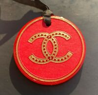 CHANEL VIP GIFT charm plastic logo red gold round very rare