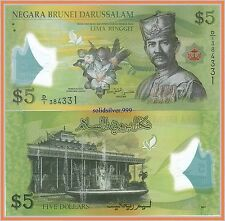 5 Dollar Bill Brunei 2011 Polymer  UNCIRCULATED