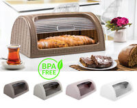 Plastic Bread Bin Box Kitchen Food Roll Top Storage Loaf Curved BPA Free 4 Color