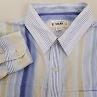 Buckle BKE 67 Long Sleeve Button Up Shirt Men's Size Large Blue Beige Striped