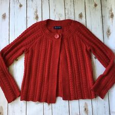 Red Cardigan Sweater Women S 4 6 Jones New York Signature Chunky Knit Cotton