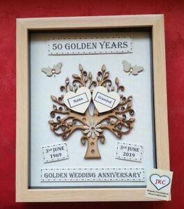 Personalised Handmade GOLDEN 5Oth WEDDING ANNIVERSARY GIFT 3D Keepsake Box Frame