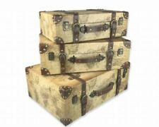 Conjunto de Viaje Maletas de almacenamiento de estilo vintage troncos Tuck Box 3 Tamaño