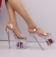 Women Sexy Transparent Super High Heel Stilettos Flower Platform Nightclub Shoes