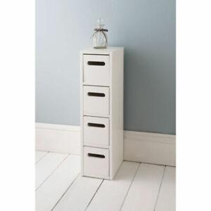 White 4 Drawer Free Standing Bathroom/Bedroom Wooden Cabinet Storage Unit 0105