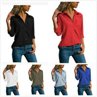 Fashion Womens Long Sleeve V-Neck Shirt Button Down Lapel Business Solid Tops SF
