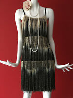 River Island Black Gold Fringe Flapper Gatsby 1920s Party Dress Size 12 BNWOT