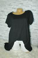 Italy T-Shirt Vintage Gr.36 38 40 42 Shirt Oversized Long Puder schwarz blogger