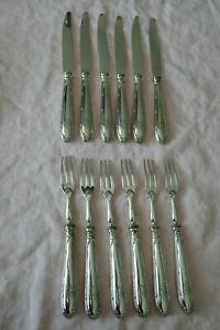 6 couteaux + 6 fourchettes dessert - ROGERS & SON - vigne