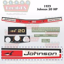 1973 Johnson 20HP Sea Horse Outboard Reproduction 8 Pc Marine Vinyl Decals 20R73