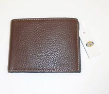 NEW-FOSSIL CAMDEN INT BI-FOLD DARK BROWN PEBELED LEATHER BIFOLD MEN'S WALLET