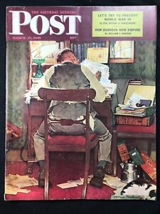 SATURDAY EVENING POST -  Mar 17 1943 - NORMAN ROCKWELL COVER / Preventing WWIII
