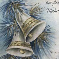 Vintage Mid Century Christmas Greeting Card Gold Glitter White Bells Hallmark