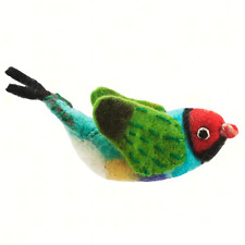 Handmade Rainbow Finch Bird Ornament. Merino Wool . Fair Trade Made in Nepal