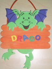 Farbkleckstiger Kinder Türschild Bild Dino Drache Dinosaurier Wunsch-  Name grün
