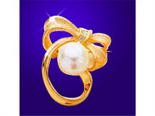 18K Gold Plated White Zircon Gemstone Diamond Imitation Pearl Floral Pin Brooch