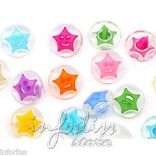20 Botones con forma de estrella sonriente -  varios colores - smile stars