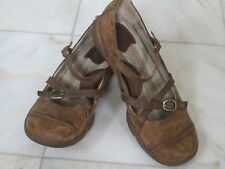 born brown cross mary jane leather shoes low heels women flat size 10