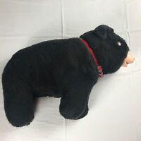 Black Bear Plush VTG Large Orange Eyes Red Collar Firm Plastic Face Stuffed Toy