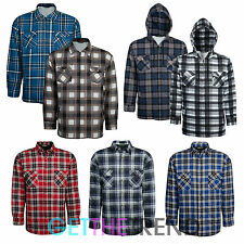 Mens Lumberjack Flannel Extra Thick Padded Check Shirt Hooded Work Safety Shirt