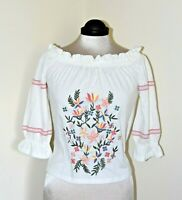 Dorothy Perkins Bardot Top Embroidered Off Shoulder Beautiful Cotton Size 8 BNWT
