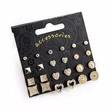 12 Pairs Diamante Cream Pearl & Gold Colour Stud Earring Set