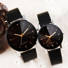 Men Women Leather Strap Line Analog Quartz Ladies Wrist Watches Couple Watch