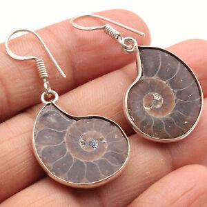 """Ammonite Fossil Sterling Silver Plated Earrings 1.5"""" Gemstone Earrings W954"""