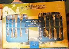 Vintage New NOS International silver company 77 piece flatware set box,Catalina