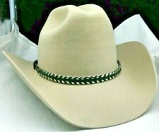 NEW HATBAND Western BLACK with Silver Edge Lacing & Buckle Set Cowboy Hat Band