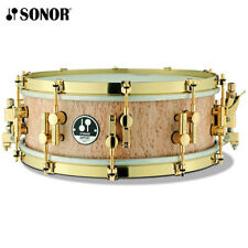 "NEW Sonor Artist Series 14"" x 5"" Maple Scandinavian Birch Snare Drum Gold Plated"