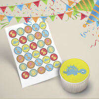 30x Baby Dinosaur Cupcake Toppers Edible Icing Printed Images Pre Cut 35mm