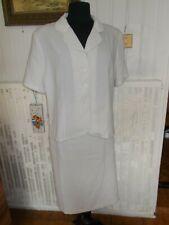 Tailleur jupe longue veste blazer polyester beige rayé UN JOUR AILLEURS 46/48