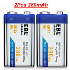 2x EBL 280mAh 9V Rechargeable Battery 9 Volt 6F22 Ni-MH Batteries For Mic Toy RC