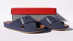 Johnson and Murphy Womens Sanya Slide Navy Polka Dots Size 6 New With Box