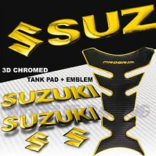 "CHROMED GOLD PRO GRIP FUEL TANK PAD+8"" SUZUKI LOGO+LETTER FAIRING EMBLEM STICKER"