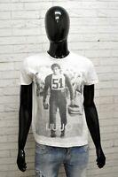Maglia Uomo Liu Jo Jeans Taglia S Cotone T-Shirt Maglietta Manica Corta Bianco