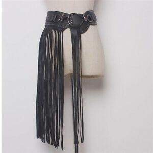 Women Punk Gothic Tassel Wide Leather Waist Rivet Studded Elastic Corset Belt