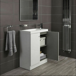 Alpine Duo 660mm White High Gloss Bathroom Floor Vanity Unit Cupboard NO RESERVE