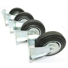 """5"""" Toolzone Fixed Castor - 125mm Rubber Trolley Wheels Furniture Caster Pack"""