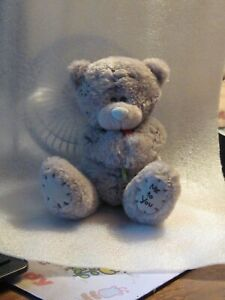 """Grey bear holding red flower 5"""" foot reads ME TO YOU has patches PRISTINE NEW"""