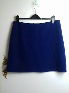 M&S Ladies Skirt 14 Blue Wool Rich A Line Winter Work Office Casual Smart