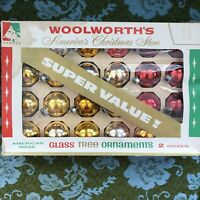 """VTG USA Christmas Ornaments Glass Bulbs Set of 24 Gold Silver Red 1-3/4"""" in Box"""