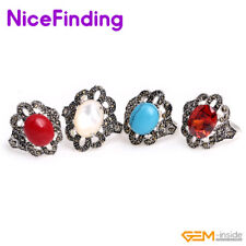 10x12mm Oval Silver Plated Assorted Stone Bead Rivet Rings Fashion Jewelry Gifts
